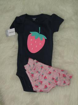 Carter's Baby Girl Strawberry 2 Piece Set sz 12 Months NWT!