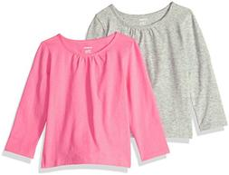 Carter's Baby Girls' 2-Pack Long-Sleeve Tee, Grey/Bright Pin