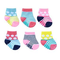 Carter's Girl Baby 6-Pack Socks with Grippers, Crew-Pink Dot