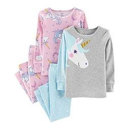 Carter's Girl's 4-Piece Snug Fit Cotton PJ Set, Unicorn, 12