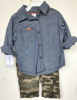 Carters 2 Piece Set Button Down Shirt With Camo Pants 12 Mon