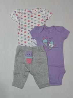 Carters 3 Piece Set Ice Cream Theme for Girls Newborn 3 6 9