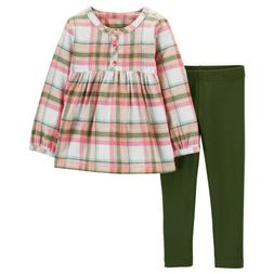 Carters Baby Girl 3 12 Months Flannel Top & Leggings Set Clo