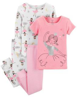 Carters Baby Girl 4-Piece PJs Ballerina PJs 4pc Pajamas Set