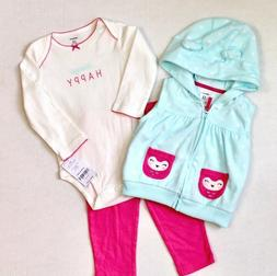 Carter's Girls 3 Pc Infant Outfit Size 12 Months