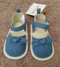 Gymboree Chambray Crib Shoes Baby Girl Size 12-18 Months NWT