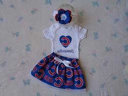 Chicago Cubs Baby Girl Skirt, Personalized Bodysuit  and Hea