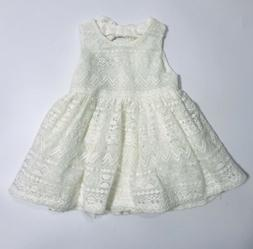 Childrens Place Dress 9- 12 Months Ivory Lace Shortsleeve Ea