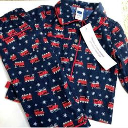 Janie and Jack Christmas Pajamas 12 - 18 Months Trains Red B