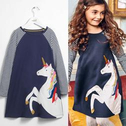 Cotton Kids Baby Girls Dress Unicorn Striped Long Sleeve Dre