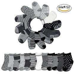 Yimaler 12-Pack Cotton Socks for Toddler Boys Girls Anti-Sli