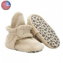 Zutano Cozie Fleece Baby Booties with Grippers 12M , Khaki