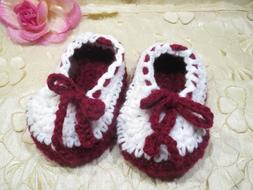 HANDMADE-CROCHET-GIRLS-BOOTIES-6/12 MONTHS-BURGNDY AND WHITE