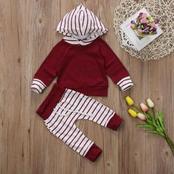 Cute Newborn Baby Boy Girl Unisex Hooded Tops +Pants Outfit
