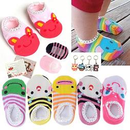 Fly-love 5 Pairs Cute Baby Toddler Stripes Anti Slip Skid So