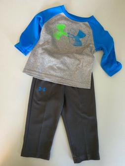 D53 Under Armour Outfit Shirt Pants Baby Boy Size 12 Month