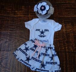 Dallas Cowboys Baby Girl Skirt, Personalized Bodysuit and He
