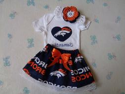 Denver Broncos Baby Girl Skirt, Personalized Bodysuit and He
