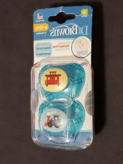 Dr Brown's Pacifiers Pack of 2 6-12 Months New train Conto