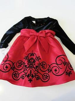 Rare Editions Dress Size 12 Month Black Velour Red Christmas