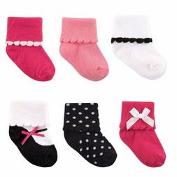 LUVABLE FRIENDS BABY GIRLS 6-PAIR DRESSY CUFF SOCKS SET 12-2