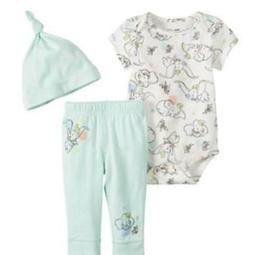 DISNEY DUMBO BABY 3 PIECE OUTFIT SIZE NB 3 6 9 12 18 MONTHS