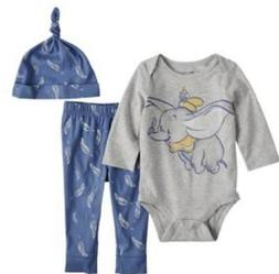 DISNEY DUMBO BABY BOY 3 PIECE OUTFIT SIZE NB 3 6 9 12 18 24