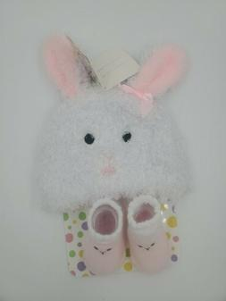 Easter Baby Girls Hat and Booties, Size 0-12 Months, Bunny,