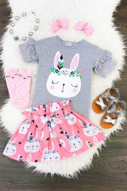 Easter Newborn Toddler Kids Baby Girl Bunny Top T-shirt Skir