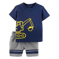 Excavator Little Boys Clothes Suit Summer Toddler Tops Pant