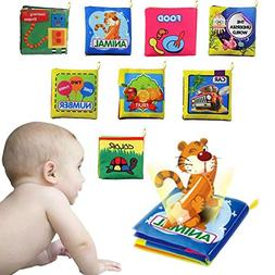 8 Pack Baby's Fabric Book Set,Non-Toxic Soft Cloth Book,Acti
