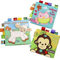 Bontip Fabric Baby Cloth Books Non-Toxic Activity Crinkle So