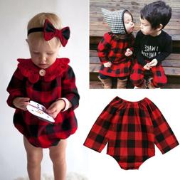 Fashion Newborn Baby Girl Plaid Romper Top Jumpsuit Bodysuit