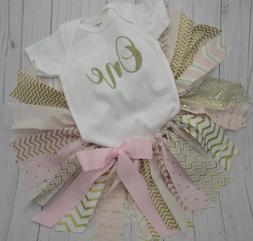 """First 1st Birthday Girl Outfit Tutu, """"One"""", """"Wild One"""", Pink"""