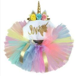 First Birthday Unicorn Dress Outfits Romper Skirt 3PCS Cloth