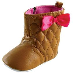 Luvable Friends Girl's Quilted Zip Boot , Brown, 12-18 Month