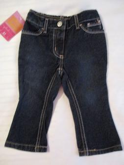 GIRLS SONOMA 12 MONTHS JEANS PANTS SOLID DARK BLUE DENIM COT