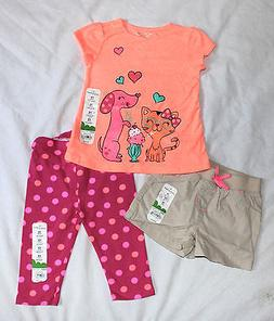 Girls 12 Months Polka Dot Leggings Shorts Sparkly Dog & Cat