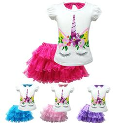 Girls Cartoon Unicorn T-shirt +Tutu Dress Cosplay Costume Pr