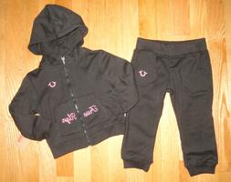 True Religion Girls Hoodie Sweatshirt Pants Set Black Baby T