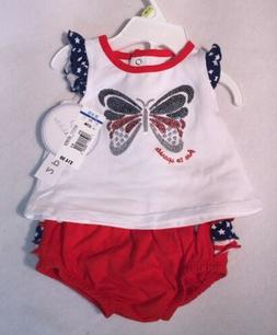 Girls Infant 9-12 Months Outfit 2 Piece Summer July 4th Red