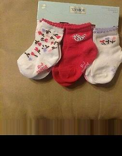 robeez girls kickproof socks size 6-12mo, birds/flowers spri