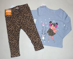 girls leopard warm fuzzy leggings tee 12