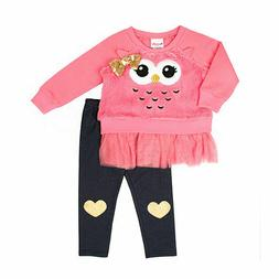Nanette Girls Owl Faux Fur Sweatshirt Leggings 12 Months 18