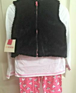Girls Winter Outfit Size 12 Months Black Faux Fur Vest Pink