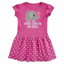 Inktastic Great Auntie Loves Me Elephant Infant Dress Childs