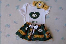 Green Bay Packers Baby Girl Skirt, Personalized Bodysuit and