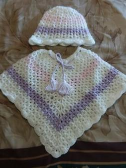 Hand Crochet Baby Poncho with Matching Hat, Size 9-12 Months
