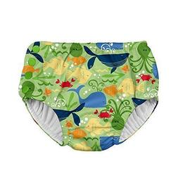 i play Snap Reusable Absorbent Swimsuit Diaper,Green Sealife