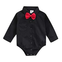 ROMPERINBOX Infant Baby Boys Dress Shirt Bodysuit Formal Lon